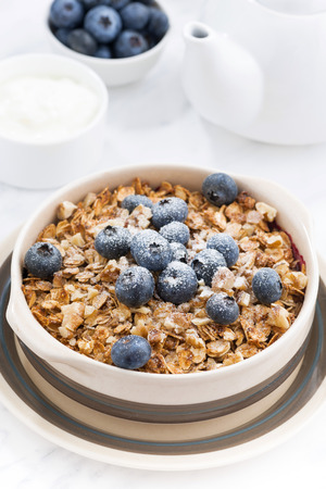 crumble with oatmeal on the table, closeup, vertical Stock Photo