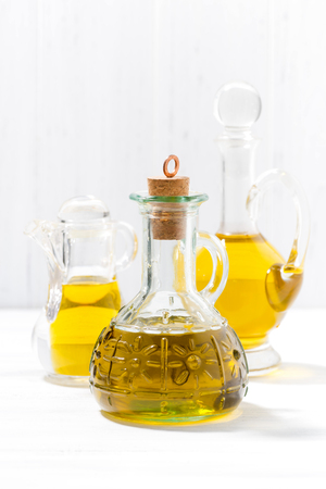 cooking oil: assortment of olive oil, vertical closeup