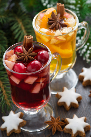 festive Christmas drinks and cookies, vertical, close-up, top view Stock Photo