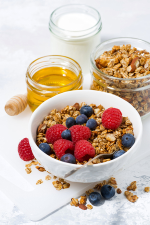 fresh cottage cheese with granola and honey, top view