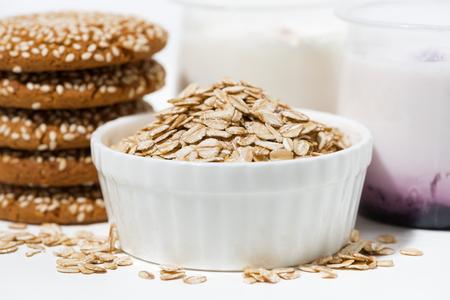 healthy oatmeal cookies and fruit yogurt, closeup