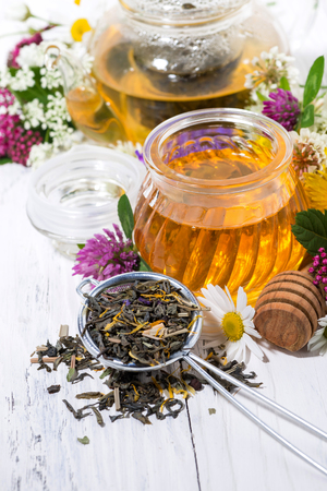 fresh flower honey, tea and ingredients on white wooden background, closeup vertical