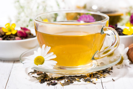 fragrant herbal tea in a cup, closeup horizontal Stock Photo