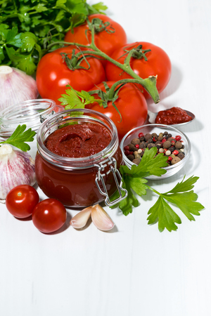 fresh tomato sauce and ingredients on white background, top view