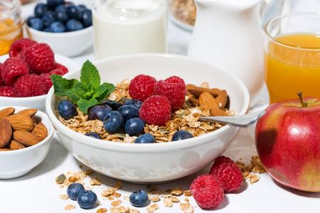 healthy breakfast. granola, fresh berries and fruits, closeup horizontal