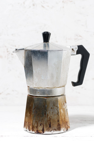 Vintage geyser coffee maker, vertical closeup