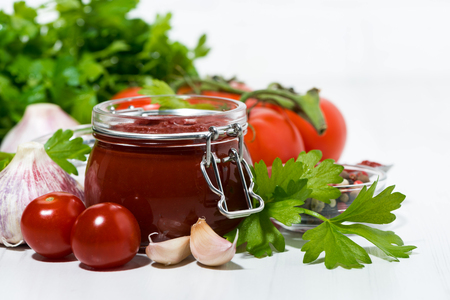 Fresh tomato sauce and ingredients, closeup Stock Photo