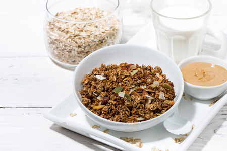 Homemade chocolate granola, peanut butter and milk on white table, closeup