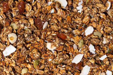 Homemade granola with nuts close-up, top view horizontal Stock Photo
