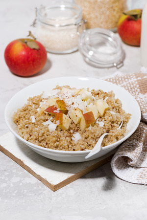 Healthy breakfast quinoa with apple and coconut on white table, vertical top view Stock Photo