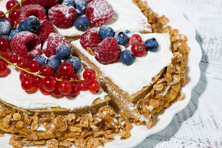 Healthy sweet oatmeal cake with yoghurt and fresh berries on white background, closeup horizontal Reklamní fotografie