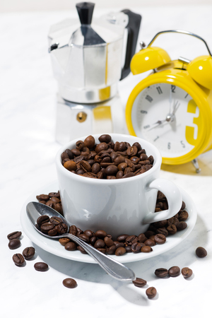 A Cup of coffee beans, vertical closeup