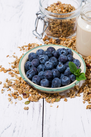 Fresh juicy blueberries and homemade granola for breakfast