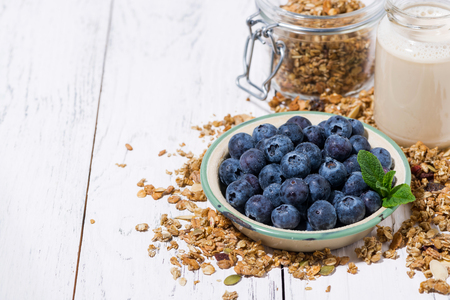 Fresh juicy blueberries and homemade granola for breakfast, closeup Stock Photo