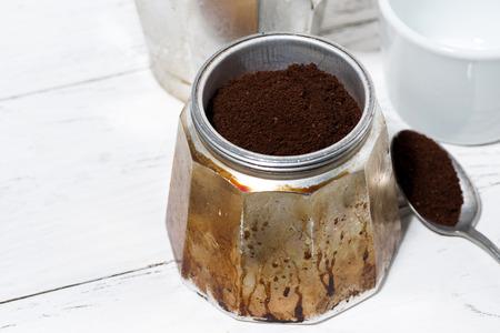 Ground coffee in a geyser coffee machine, top view