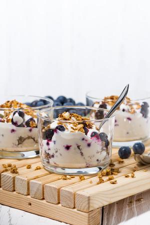 Glasses with healthy dessert with blueberries, yogurt and muesli, vertical photo Reklamní fotografie