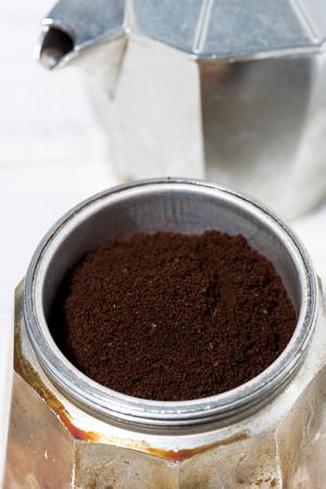 Ground coffee in a geyser coffee machine, vertical Reklamní fotografie