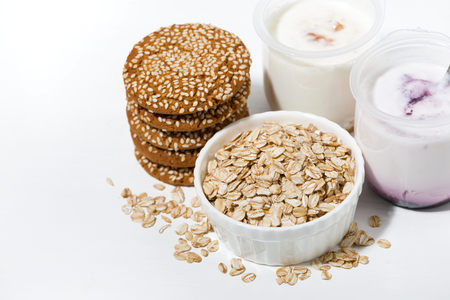 Oatmeal cookies and fruit yogurt, top view horizontal