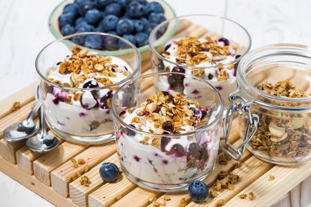 Glasses with healthy dessert with blueberries, yogurt and muesli, horizontal
