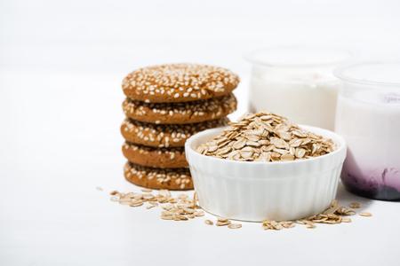 Oatmeal cookies and fruit yogurt, horizontal