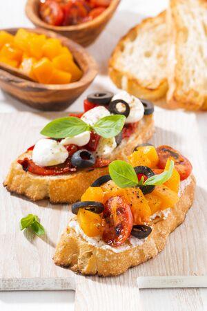 italian appetizer - bruschetta, closeup