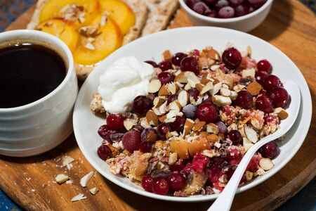 crumble with fresh berries, toast and coffee