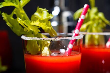 bloody mary alcoholic cocktail in glasses, closeup horizontal Standard-Bild