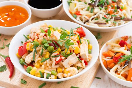 fried rice with tofu, noodles with vegetables and herbs, close-up Standard-Bild