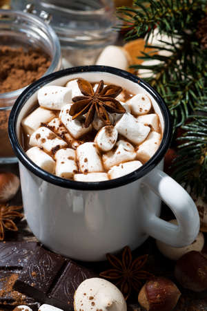 hot chocolate with marshmallows and sweets on wooden background, closeup
