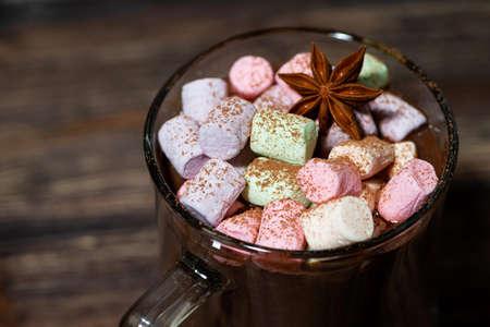 cup of hot chocolate with marshmallows, closeup horizontal Standard-Bild
