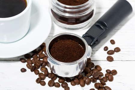 holder with aroma ground coffee on table, closeup Standard-Bild