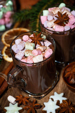 hot chocolate with marshmallows in glass mugs, top view