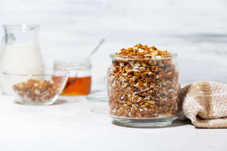 homemade granola with coconut and nuts, horizontal Standard-Bild
