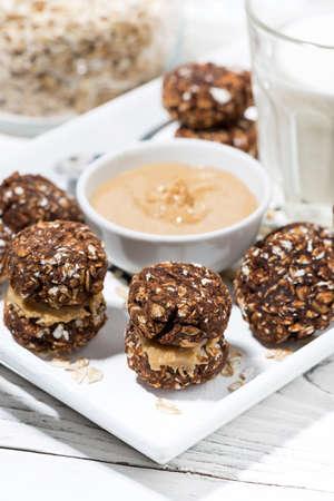 homemade oatmeal chocolate chip cookies, closeup