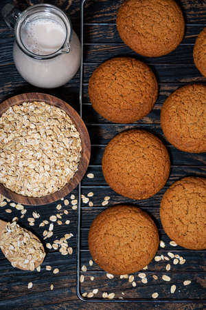 fresh homemade oatmeal cookies, top view Standard-Bild