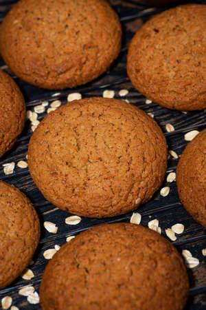 fresh homemade oatmeal cookies, closeup top view