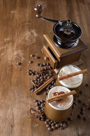 Ice coffee with cream photo