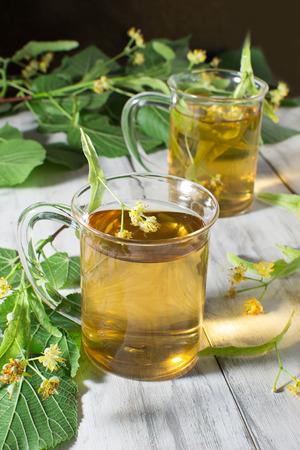 linden tea: Herbal tea with linden flowers