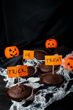 Halloween chocolate cupcake trick or treat Stock Photo