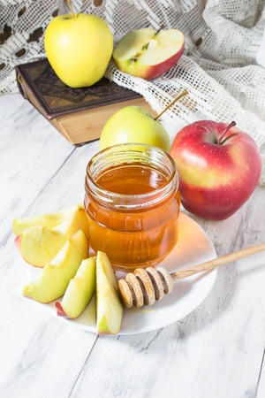 Honey with apple for Rosh Hashana jewish New Year photo