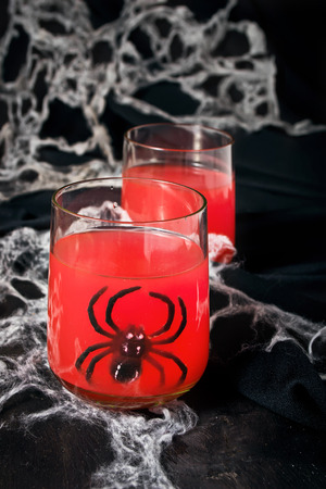 Spooky halloween cocktails for party, selective focus photo