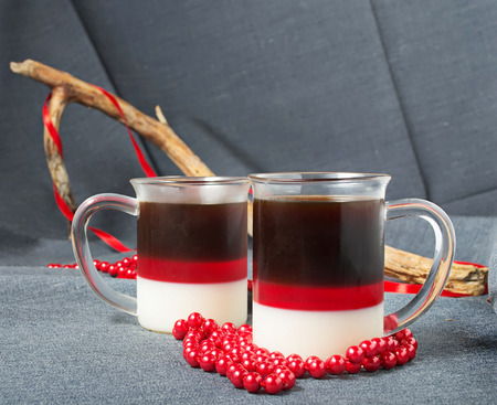 coffee jelly: Dessert with red, milk and coffee jelly in glass