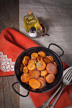 dietetic: Braised carrot with thyme, dietetic vegetarian dish