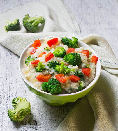 Rice with broccoli and sweet red pepper. Selective focus 스톡 콘텐츠