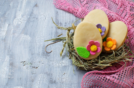 easter cookie: Easter homemade cookie in shape of egg. Selective focus. Space for text