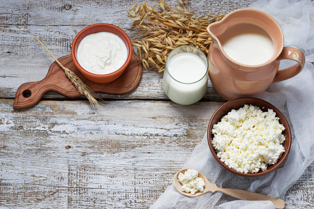 Dairy products: milk, cottage cheese, sour cream. Selective focus. Copy space background