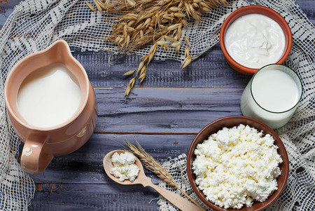 cottage: Productos lácteos: leche, requesón, crema agria. Enfoque selectivo. Copiar espacio de fondo