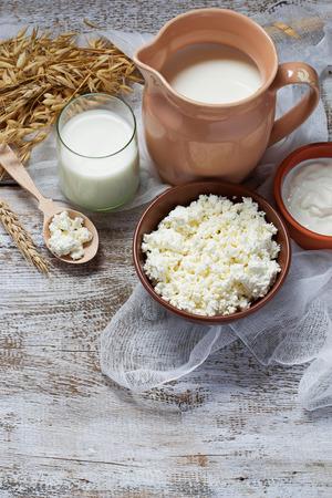 Zuivelproducten: melk, kwark, zure room. selectieve aandacht
