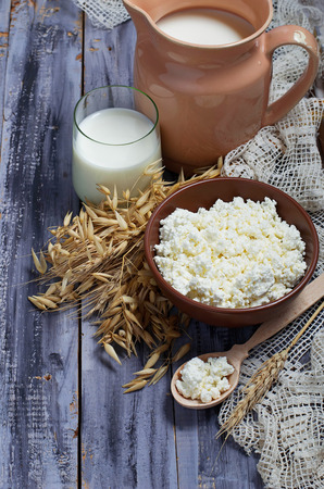 sour cream: Dairy products: milk, cottage cheese, sour cream. Selective focus Stock Photo