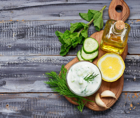 Greek sauce tzatziki and cucumber, mint, dill, garlic, lemon, oil. Selective focus
